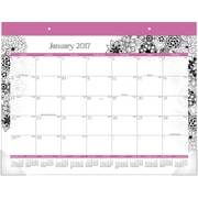 AT-A-GLANCE® Monthly Desk Pad Calendar, 2017, 21 3/4 x 15 1/2, FloraDoodle (D189 704 17)