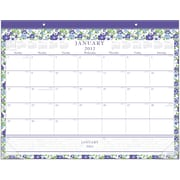 "Staples® Monthly Desk Pad, 2017, 21 3/4"" x 17"", Floral (26249 17)"