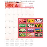 """AT-A-GLANCE® Monthly Wall Calendar, 2017, 15 1/2"""" x 22 3/4"""", Floral (PM44 28 17)"""