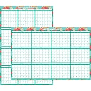 "Staples® Erasable Yearly Planner, Reversible Vertical/Horizontal, 2017, 24"" x 36"", Floral (19646 17)"