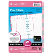 "Day-Timer® Two Page Per Week Pink Ribbon Planner Refill, Hourly Appointments, 2017, 5 1/2"" x 8 1/2"" (14210-1701)"