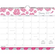 "Day Timer® Tabbed Monthly Wall Calendar, 2017, 11"" x 8 1/2"", Pink Ribbon (11259 1701)"