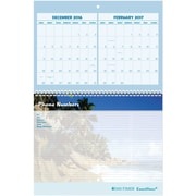 "Day Timer® Three Month Wall Calendar, 2017, 11"" x 17"", Coastlines® (11257 1701)"