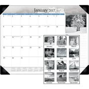 "AT-A-GLANCE® Monthly Desk Pad, 2017, 21 5/8"" x 16 7/8"", Black and White (DMD162 00 17)"