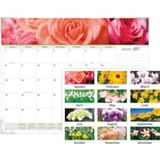 "AT A GLANCE® Panoramic Monthly Desk Pad, 2017, 22"" x 17"", Floral (89805 17)"