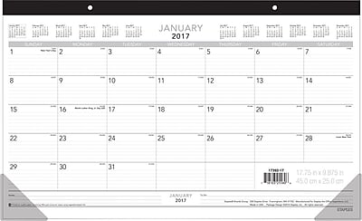 """""Staples Compact Monthly Desk Pad, 2017, 17 3/4"""""""" x 10 7/8"""""""", (17392 17)"""""" 2127843"