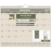 "AT A GLANCE® Recycled Monthly Wall Calendar, 2017, 15"" x 12"" (PMG77 28 17)"