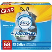 Glad® Force Flex® OdorShield® Tall Kitchen Drawstring Trash Bags, Fresh Clean, 13 Gallon, 68 Bags/Box