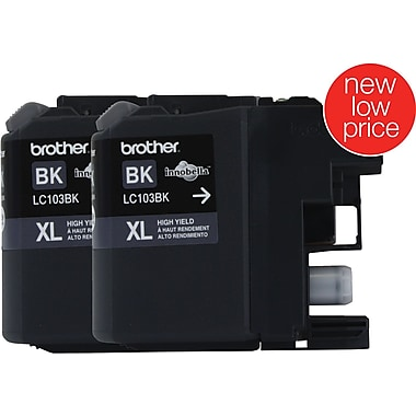 Brother LC103 High Yield Black Ink Cartridge 2/Pack (LC1032PKS)