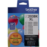 Brother LC203XL Black High Yield Ink Cartridges, 2/Pack (LC2032PKS)
