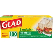 Glad® Food Storage Bags, Fold-Top Sandwich, 180 Count