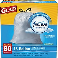 80-Count Glad OdorShield 13-Gallon Tall Kitchen Drawstring Trash Bags (Fresh Clean)