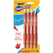 BIC® Gel-ocity® Retractable Gel-Ink Roller Pens, Medium Point, Red, 4/Pack