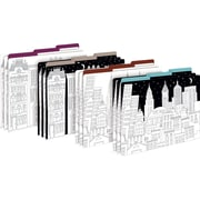 Barker Creek Color Me! Cityscapes Decorative Letter-Sized File Folders, Multi-Design, 3-tab, 12 per package/4 designs (BC1344)