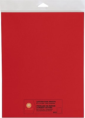 """""""""""M by Staples, Letter Size Sheets, 8.5"""""""""""""""" X 11"""""""""""""""", Red, 10/pack, (10825003)"""""""""""" 2472482"""