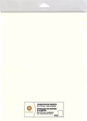 """""""""""M by Staples, Cardstock Sheets, 8.5"""""""""""""""" x 11"""""""""""""""", Ivory, 10/pack, (10826001)"""""""""""" 2472460"""
