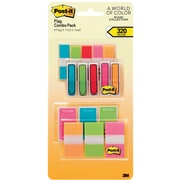 "Post-it® 1/2"" and 1"" Flags, Miami Collection Combo Pack, 320 Flags/in Four On-The-Go Dispensers (683XLM)"