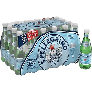 SANPELLEGRINO Sparkling Natural Mineral Water, 16.9-ounce Plastic Bottle, 24/Case