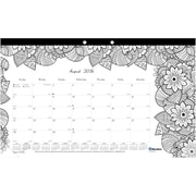 "Blueline®, Academic Monthly Coloring Desk Pad Calendar, 2017 Aug. - July, 17.75"" x 10.875"", DoodlePlan (CA2917001)"