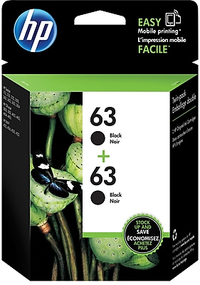 HP 63 Black Ink Cartridges T0A53AN 140 2 Pack