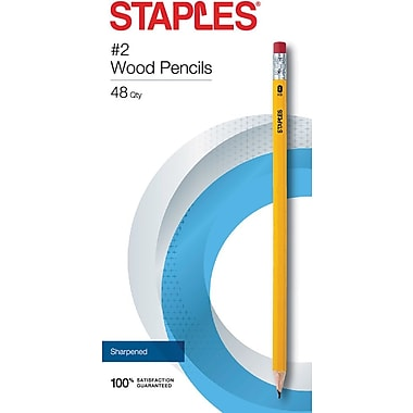 STAPLES® #2 PRE-SHARPENED WOOD PENCILS YELLOW 48PK (23744)
