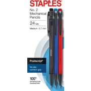 STAPLES® POSTSCRIPT® NO. 2 MECHANICAL PENCILS MED 0.7MM ASSORTED 24PK (26931)
