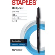 STAPLES® COMFORT STIC® BALLPOINT PENS MED 1.0MM BLACK 60PK (29243)