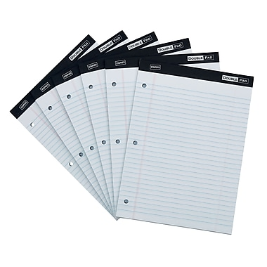 Staples Double Pad, White, Wide Ruled with 3-Hole Punch, 6/Pack (18580)