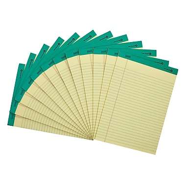Staples 100% Recycled Perforated Notepads, Canary, 8-1/2