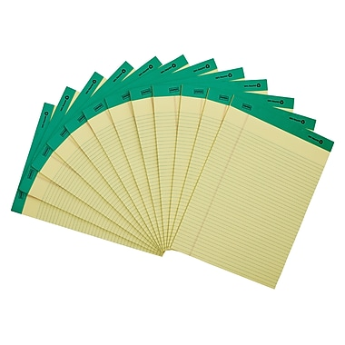 Staples 100% Recycled Narrow Ruled Perforated Notepads, Canary, 8 1/2