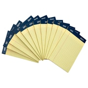 "Signa® 5"" x 8"", Yellow, Perforated Notepads, Narrow Ruled, 12/Pack"