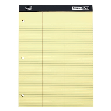 Staples 3-Hole Double Pad, Canary, Law Ruled, 3