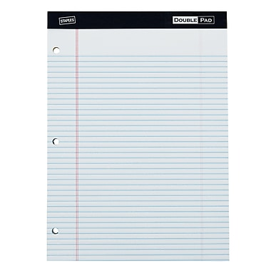 Staples® 3-Hole Double Pad, White, Narrow Ruled, Each