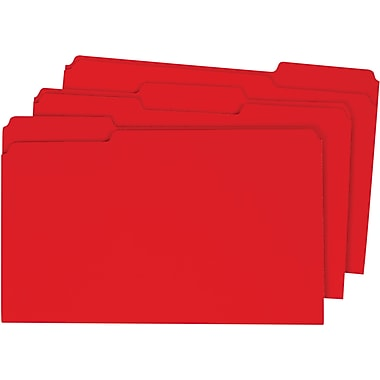 Staples® Colored Top-Tab File Folders, 3 Tab, Red, Legal Size, 100/Pack