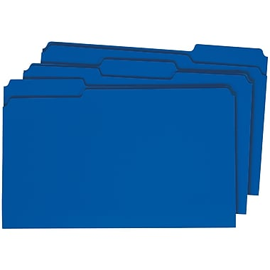 Staples® Colored File Folders w/ Reinforced Tabs, Legal, 3 Tab, Blue, 100/Box