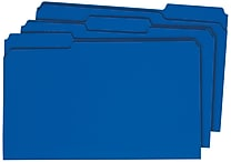 Staples Colored 3-Tab File Folders, Legal, Blue, 100/Box