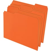 Staples® Colored Top-Tab File Folders, 3 Tab, Orange, Letter Size, 100/Pack