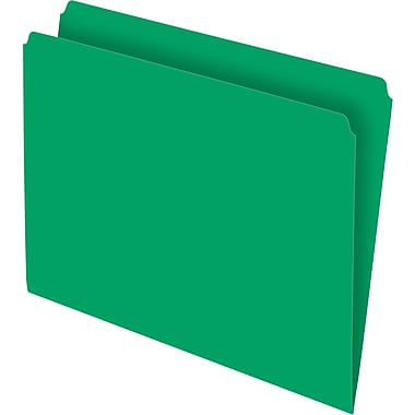 Staples Single Tab Colored File Folders, Letter, Green, 100/Box