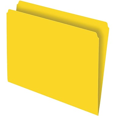 Staples Colored File Folders, Single Tab, Letter, Yellow, 100/Box