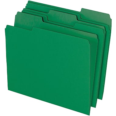 Staples® Colored Top-Tab File Folders, 3 Tab, Green, Letter Size, 24/Pack