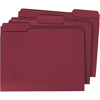 Staples® Colored Top-Tab File Folders, 3 Tab, Maroon, Letter Size, 100/Pack