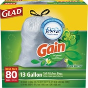 Glad® OdorShield® Tall Kitchen Drawstring Trash Bags, GAIN, 13 Gallon, 80 Bags/Box