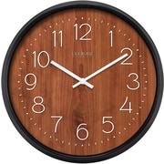 La Crosse Clock 404-3036 14 In Wall Clock with Black Case and Wood Finish Dial