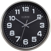 La Crosse Clock 404-2631GM 12 Inch Round Metal Analog Wall Clock with Gunmetal Finish