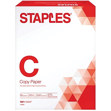 Staples Copy Paper, 8 1/2in. x 11in., 500/Ream (135855/135855WH)