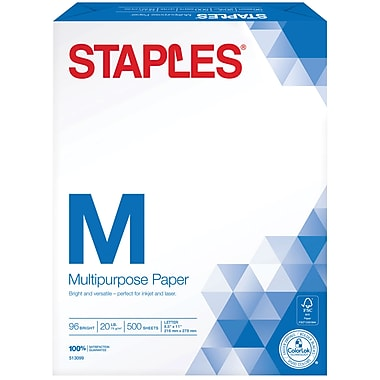 Staples® Multipurpose Paper, 8 1/2in. x 11in., 500/Ream (513099-WH)