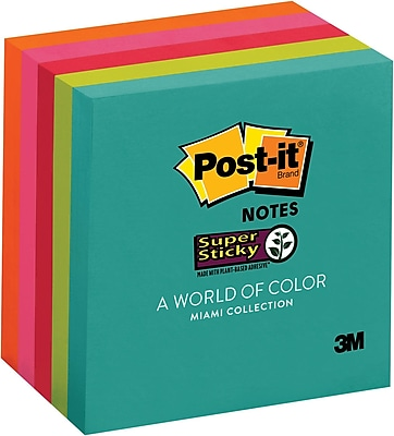 "Post-it® Super Sticky Notes, 3"" x 3"", Miami Collection, 5 Pads/Pack (654-5SSMIA)"