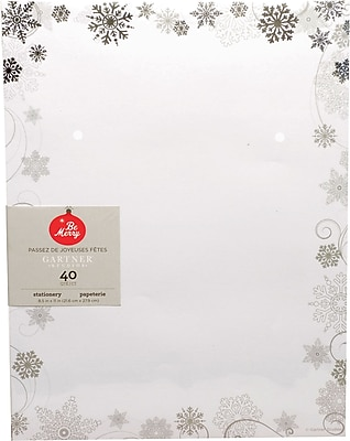 Gartner Studios Silver Swirl with Foil Stationery 8.5 x 11 40 Pack 18677