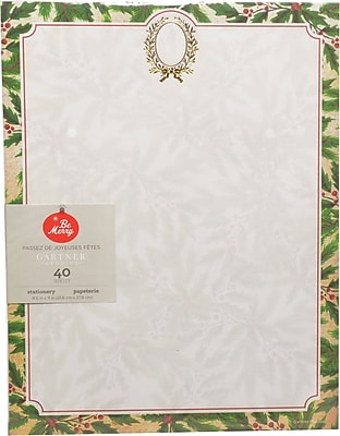 Gartner Studios Holly Wreath with Foil Stationery 8.5 x 11 40 Pack 18683
