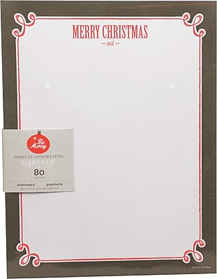 Gartner Studios Chalk Merry Christmas Stationery 8.5 x 11 80 Pack 18694
